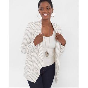 CHICO'S | Black White Stripe Drape Blazer Jacket